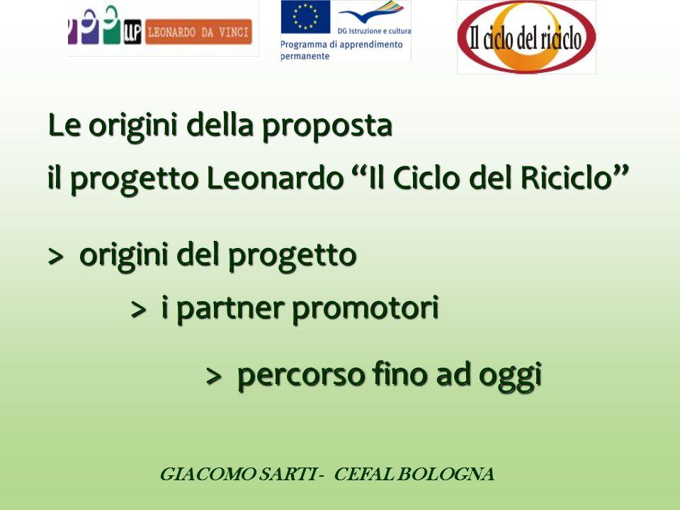 Le origini della proposta il progetto Leonardo Il Ciclo del Riciclo > origini del progetto > i partner promotori > percorso fino ad oggi