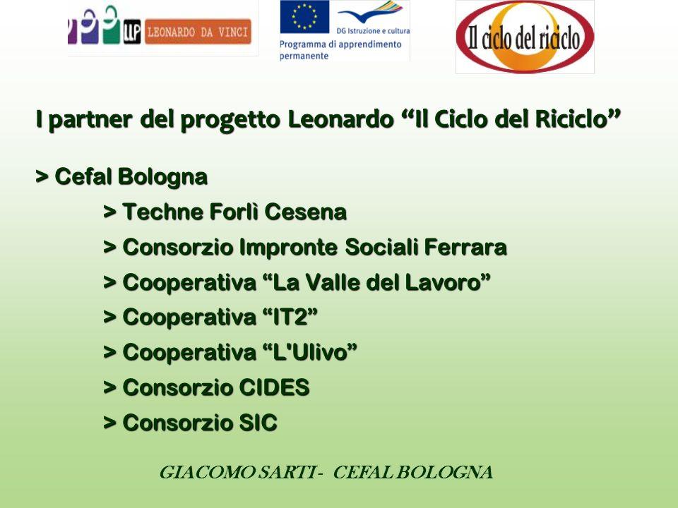 I partner del progetto Leonardo Il Ciclo del Riciclo > Cefal Bologna > Techne Forlì Cesena > Consorzio Impronte Sociali Ferrara > Cooperativa La Valle del Lavoro > Cooperativa IT2 > Cooperativa L Ulivo > Consorzio CIDES > Consorzio SIC