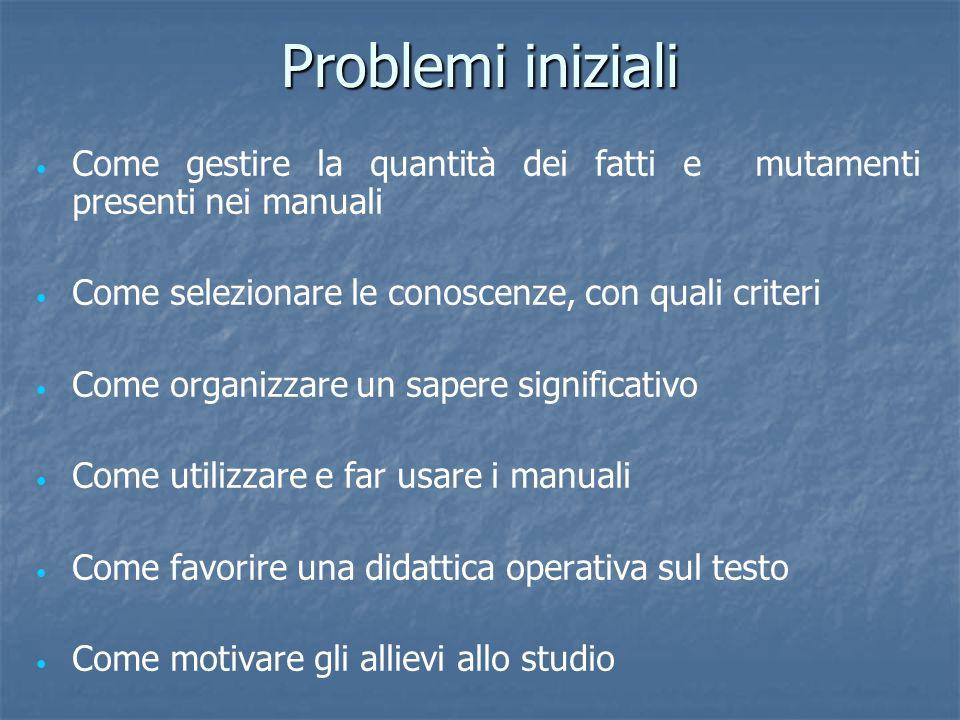 Problemi iniziali Come gestire la quantità dei fatti e mutamenti presenti nei manuali. Come selezionare le conoscenze, con quali criteri.