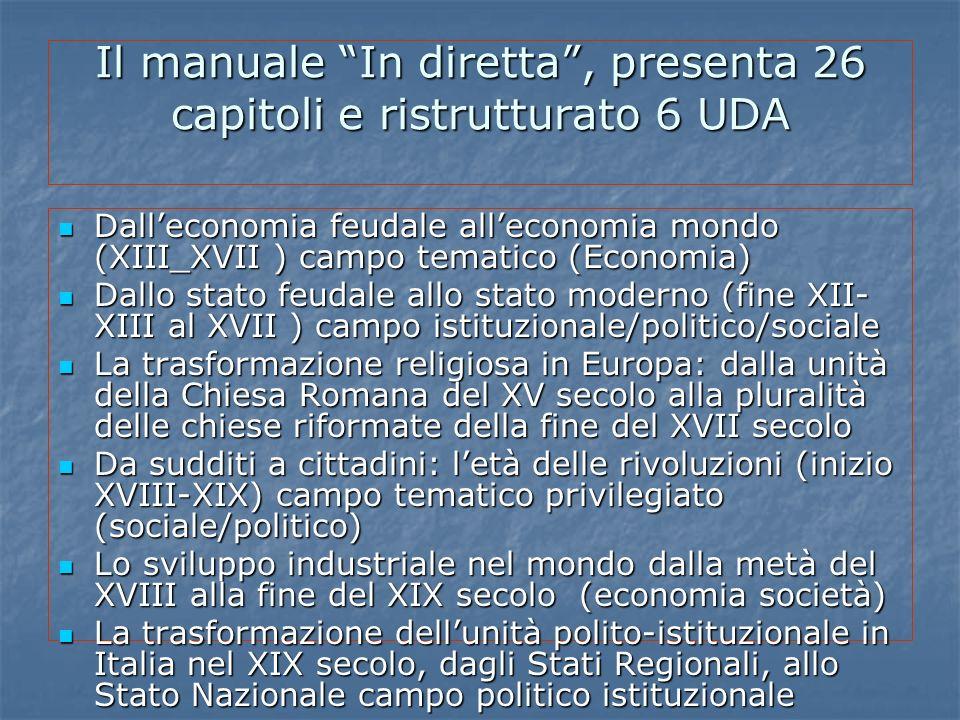 Il manuale In diretta , presenta 26 capitoli e ristrutturato 6 UDA
