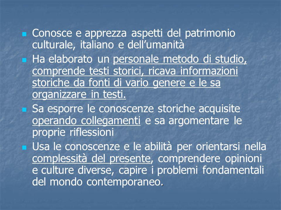 Conosce e apprezza aspetti del patrimonio culturale, italiano e dell'umanità