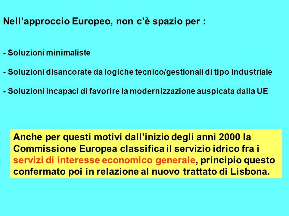 Nell'approccio Europeo, non c'è spazio per :