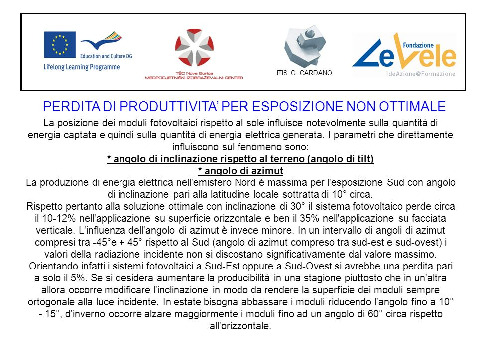 PERDITA DI PRODUTTIVITA' PER ESPOSIZIONE NON OTTIMALE