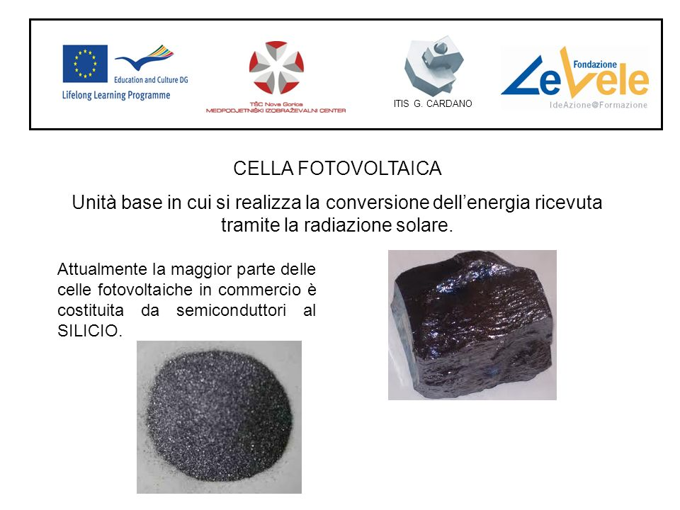 ITIS G. CARDANO CELLA FOTOVOLTAICA. Unità base in cui si realizza la conversione dell'energia ricevuta tramite la radiazione solare.