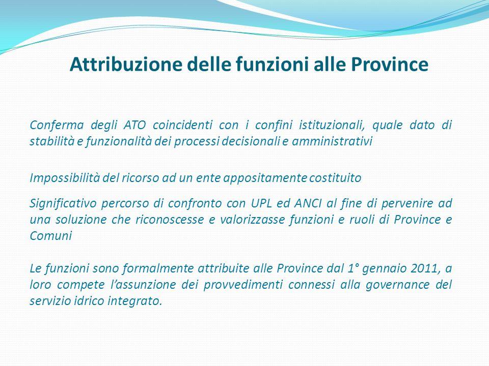 Attribuzione delle funzioni alle Province