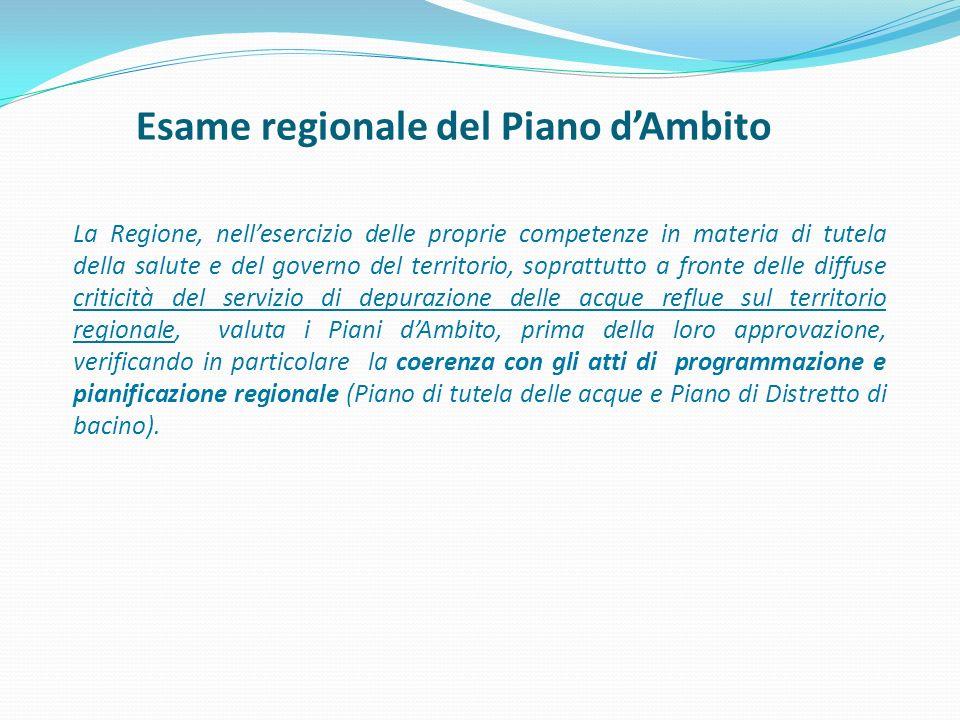 Esame regionale del Piano d'Ambito