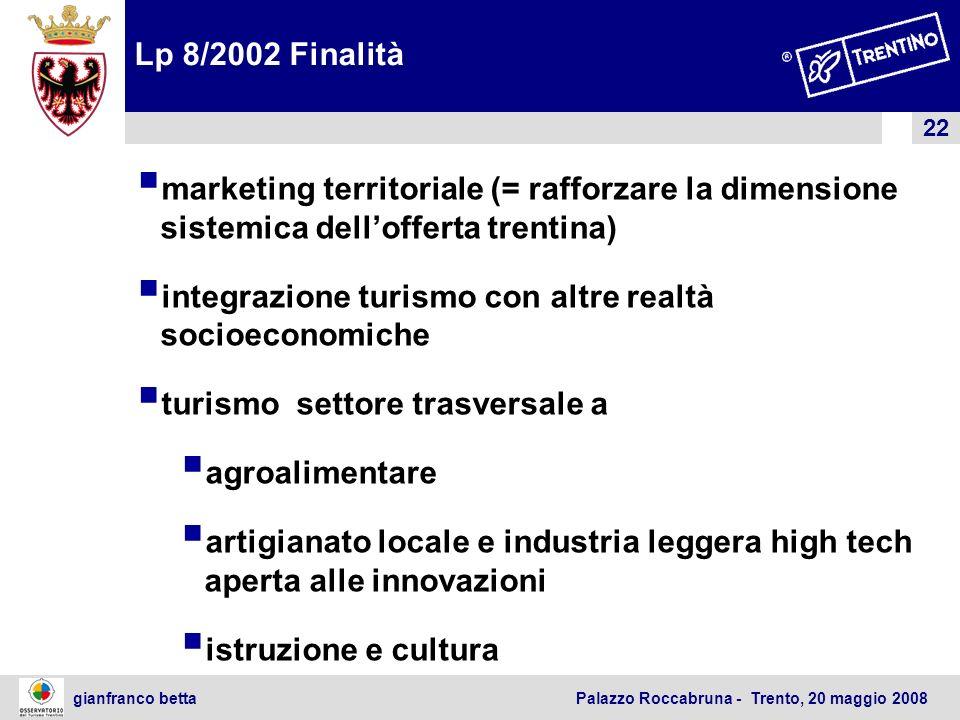 Lp 8/2002 Finalitàmarketing territoriale (= rafforzare la dimensione sistemica dell'offerta trentina)
