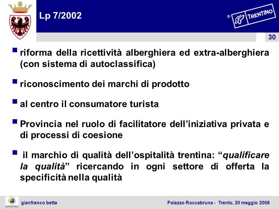 Lp 7/2002 riforma della ricettività alberghiera ed extra-alberghiera (con sistema di autoclassifica)