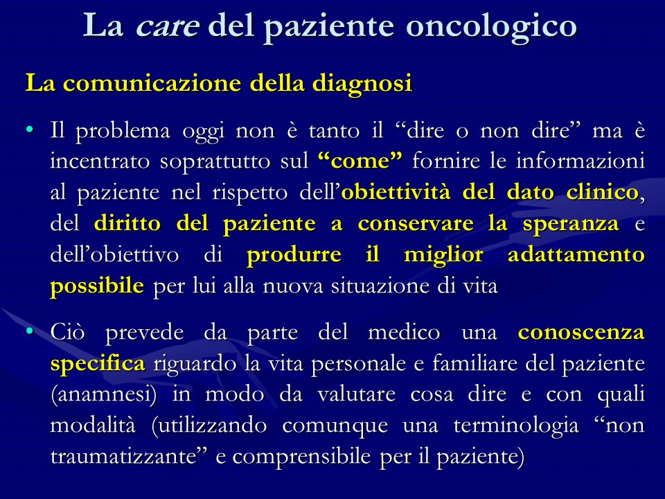 La care del paziente oncologico