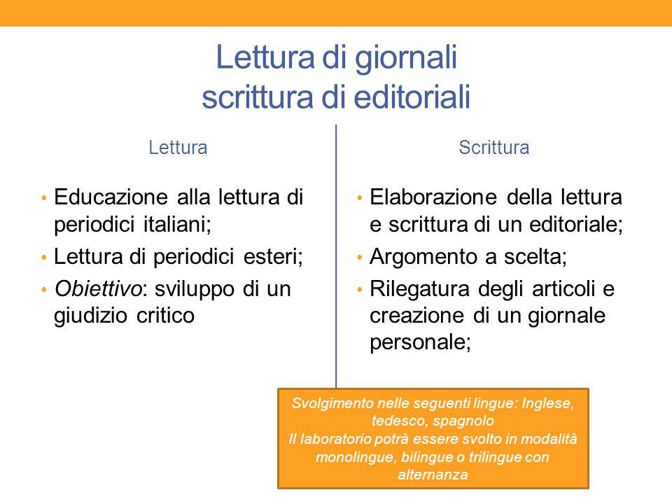 Lettura di giornali scrittura di editoriali