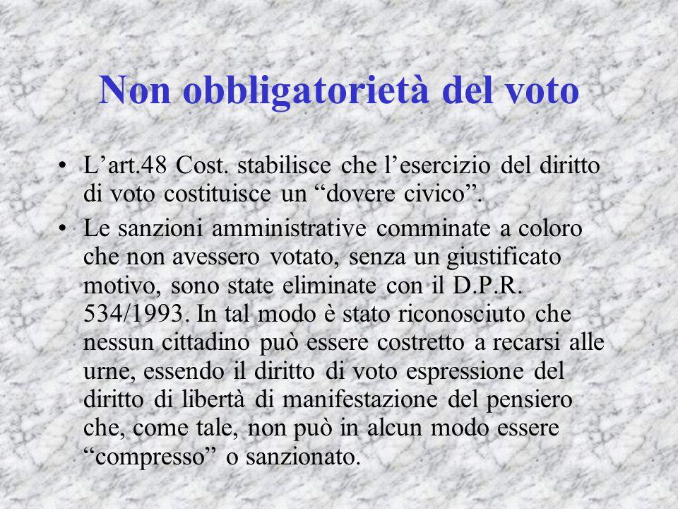 Non obbligatorietà del voto