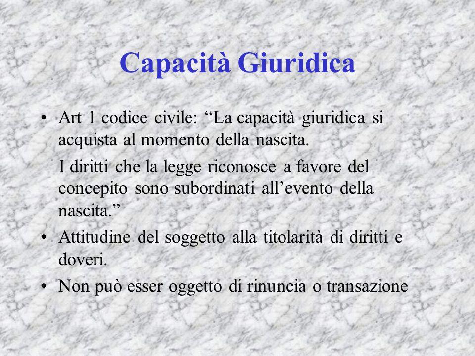 Capacità Giuridica Art 1 codice civile: La capacità giuridica si acquista al momento della nascita.