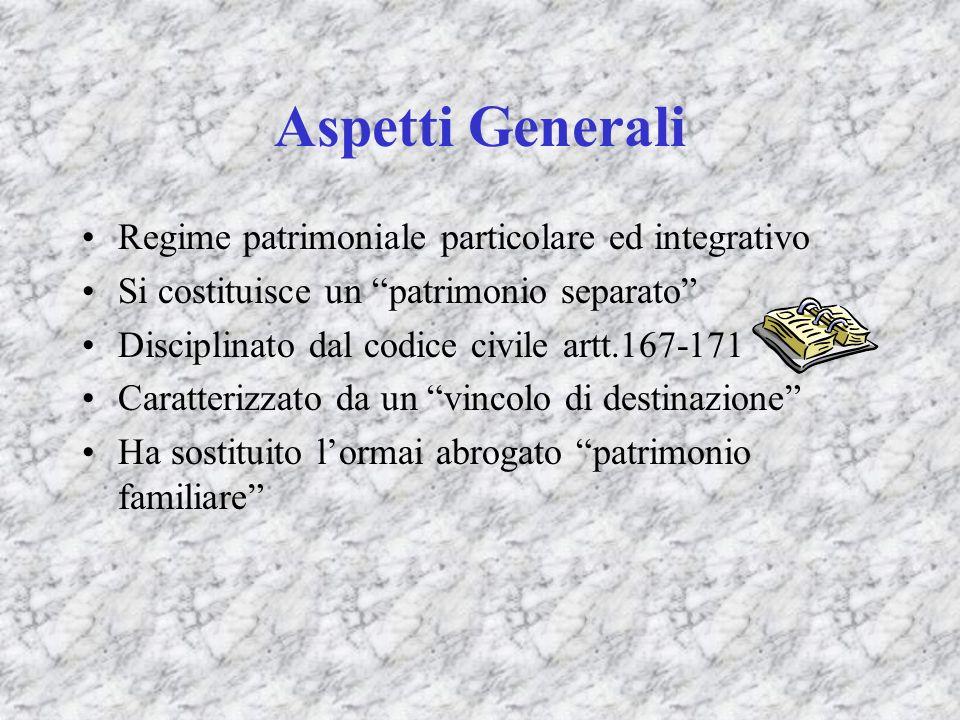 Aspetti Generali Regime patrimoniale particolare ed integrativo