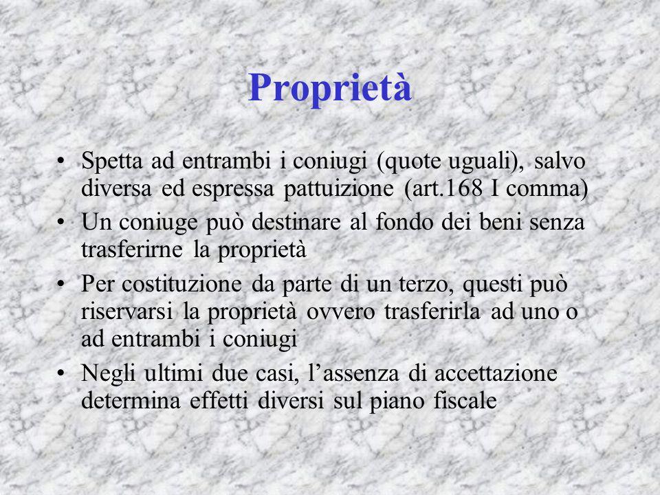 Proprietà Spetta ad entrambi i coniugi (quote uguali), salvo diversa ed espressa pattuizione (art.168 I comma)