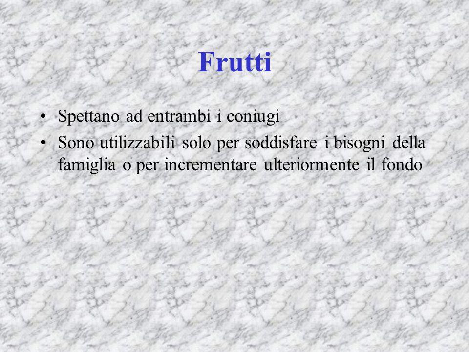 Frutti Spettano ad entrambi i coniugi