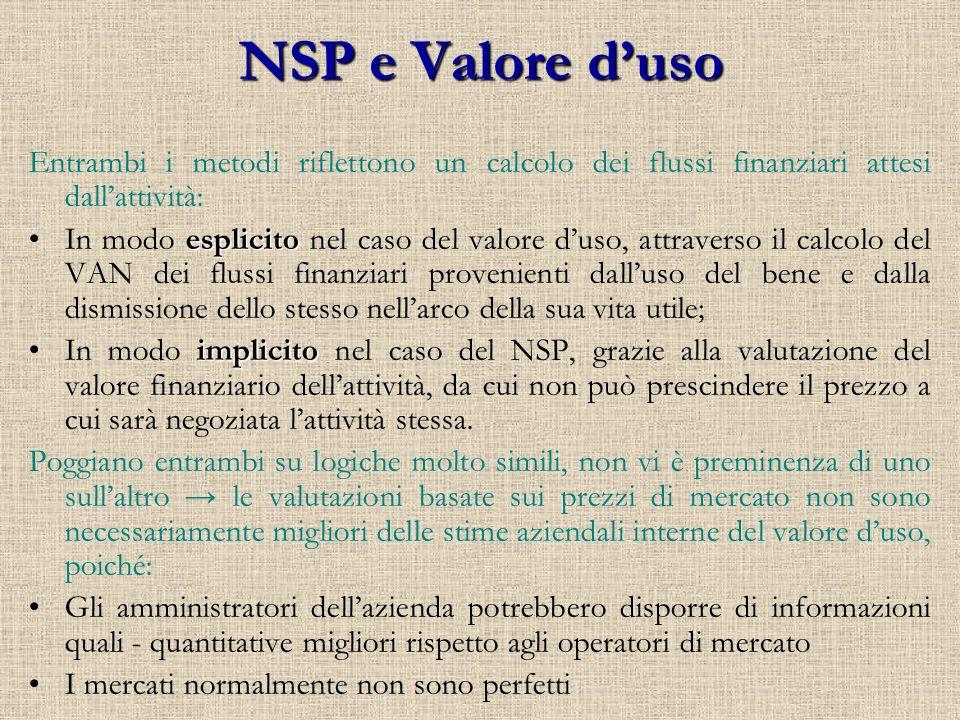NSP e Valore d'uso Entrambi i metodi riflettono un calcolo dei flussi finanziari attesi dall'attività:
