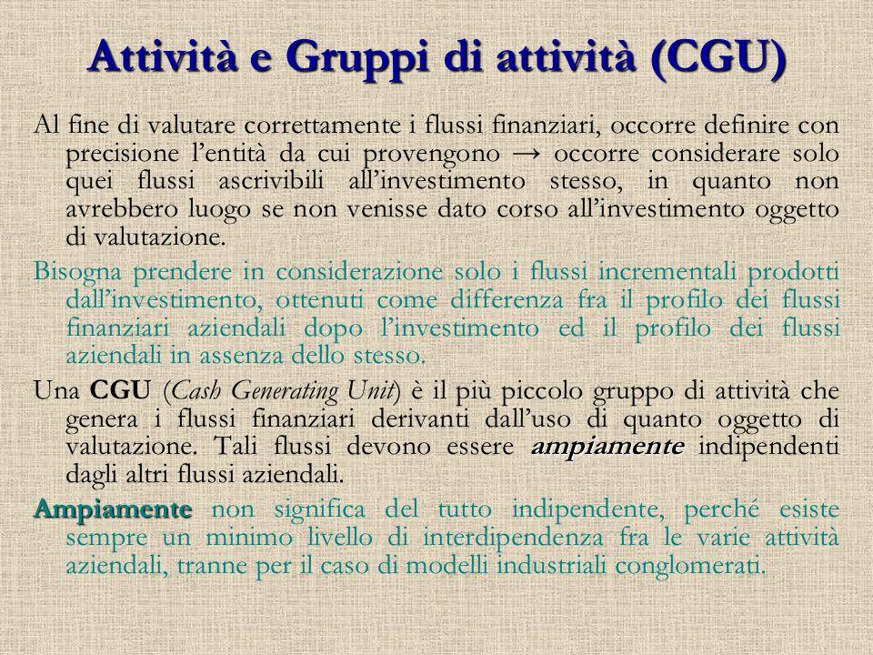 Attività e Gruppi di attività (CGU)