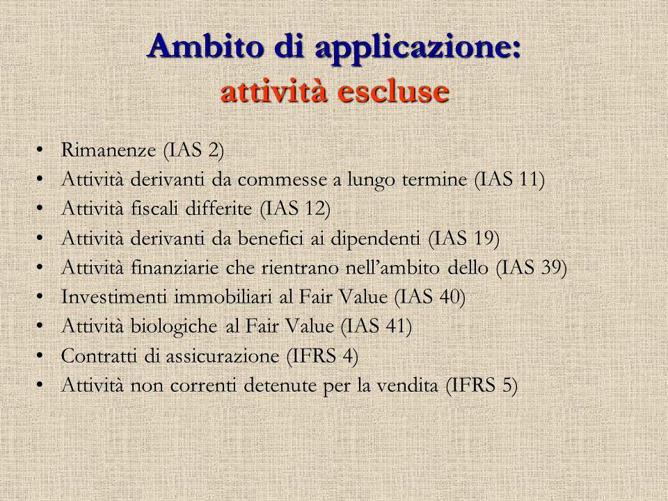 Ambito di applicazione: attività escluse