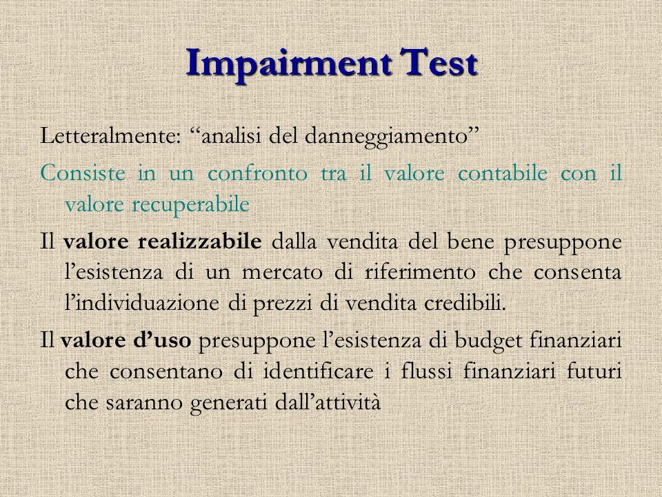 Impairment Test Letteralmente: analisi del danneggiamento