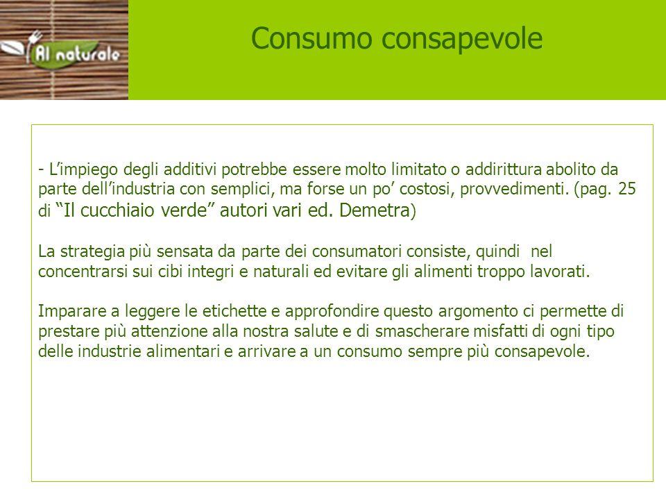 Consumo consapevole Consumo consapevole.