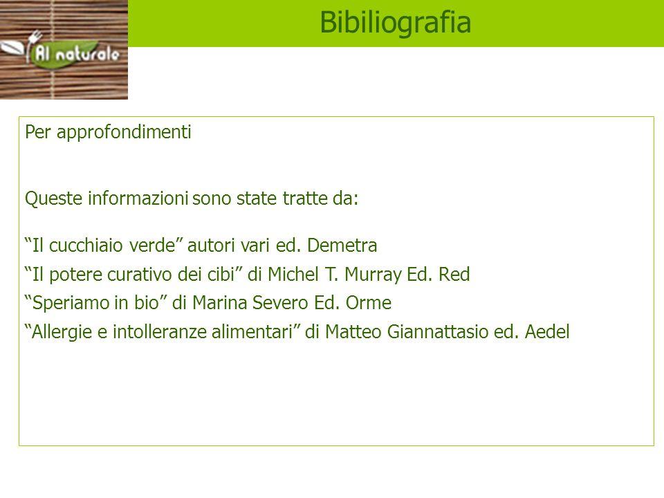 Bibiliografia Per approfondimenti