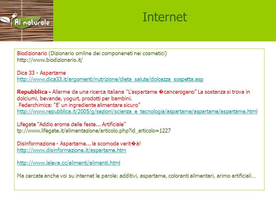 siti Internet. Biodizionario (Dizionario omline dei componeneti nei cosmetici) http://www.biodizionario.it/