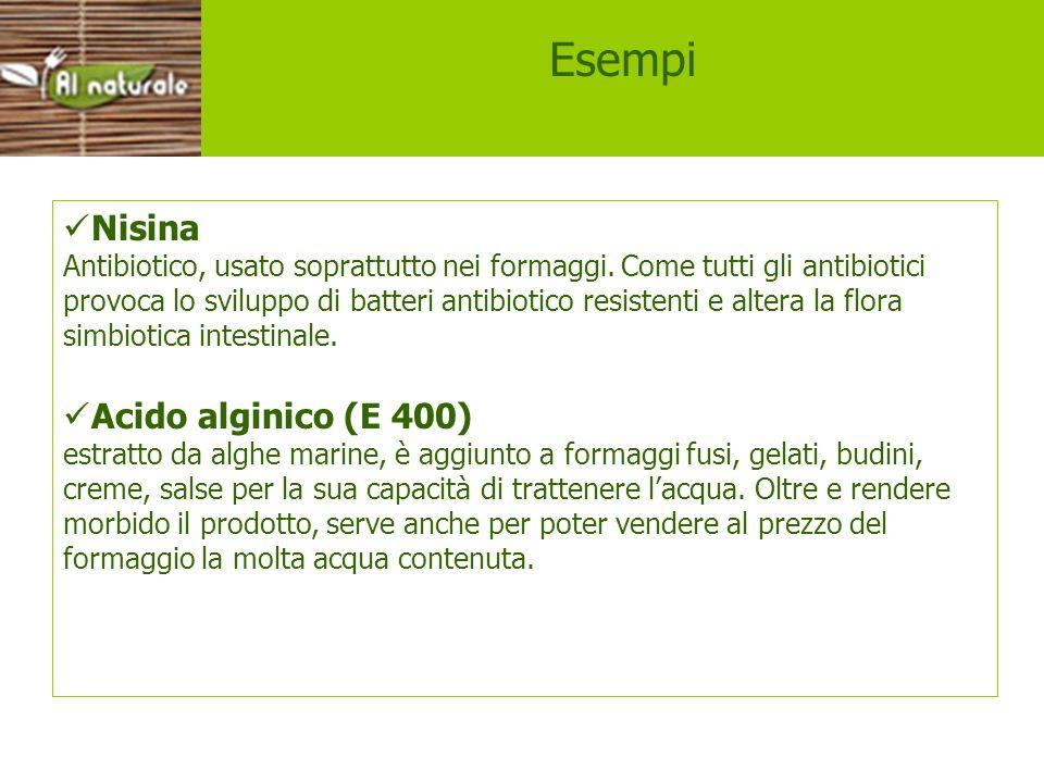 Esempi Nisina Acido alginico (E 400)