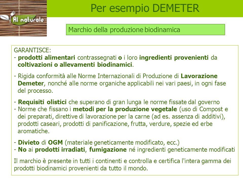 Per esempio DEMETER Marchio della produzione biodinamica