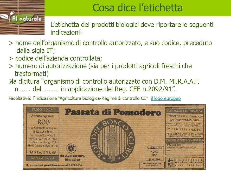 etichette Cosa dice l'etichetta. L'etichetta dei prodotti biologici deve riportare le seguenti indicazioni: