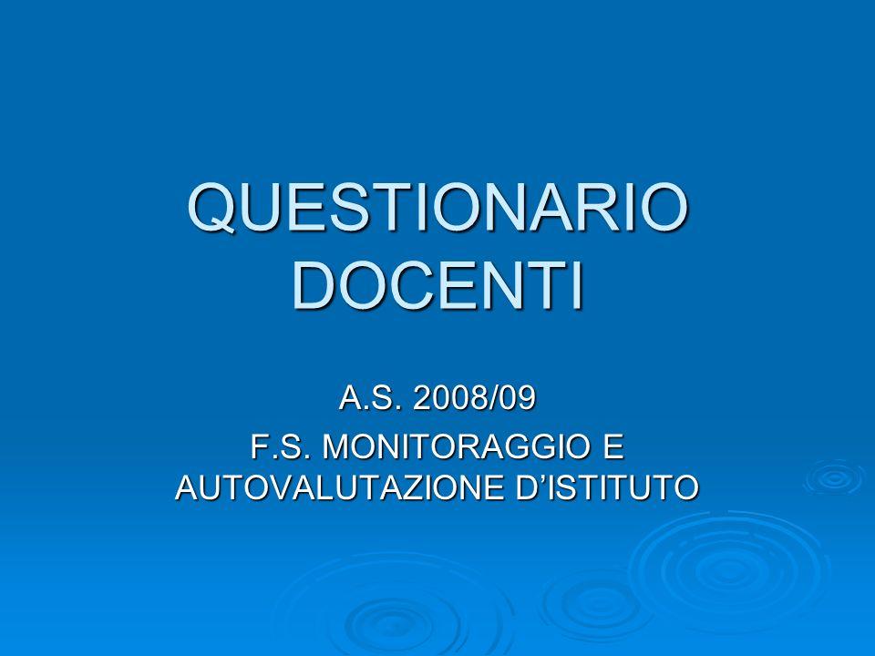 A.S. 2008/09 F.S. MONITORAGGIO E AUTOVALUTAZIONE D'ISTITUTO