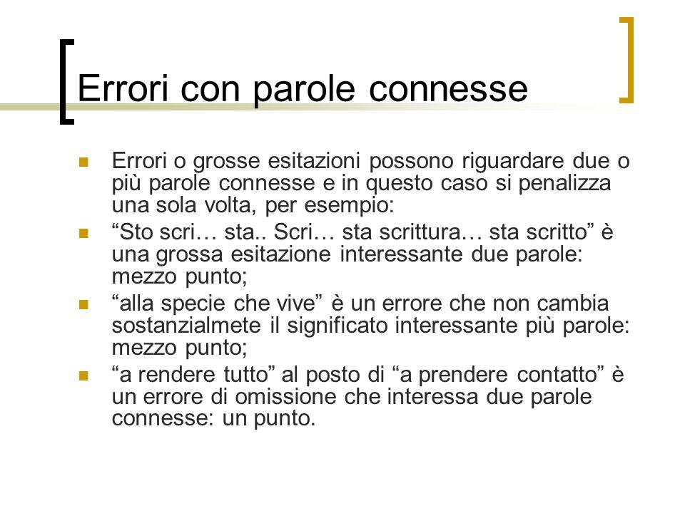 Errori con parole connesse