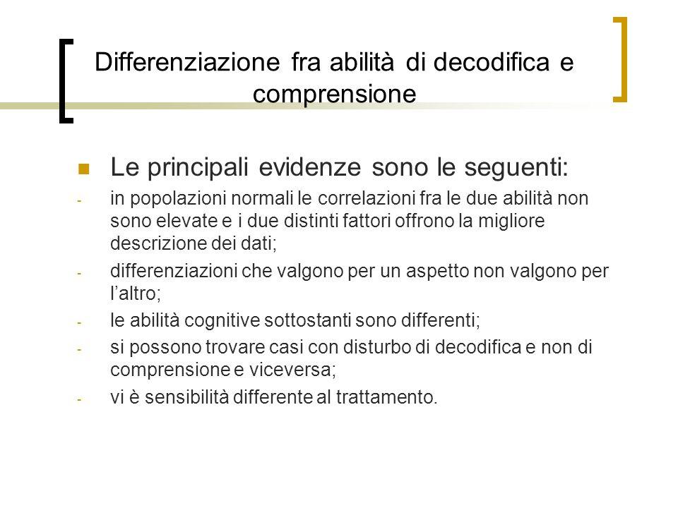 Differenziazione fra abilità di decodifica e comprensione