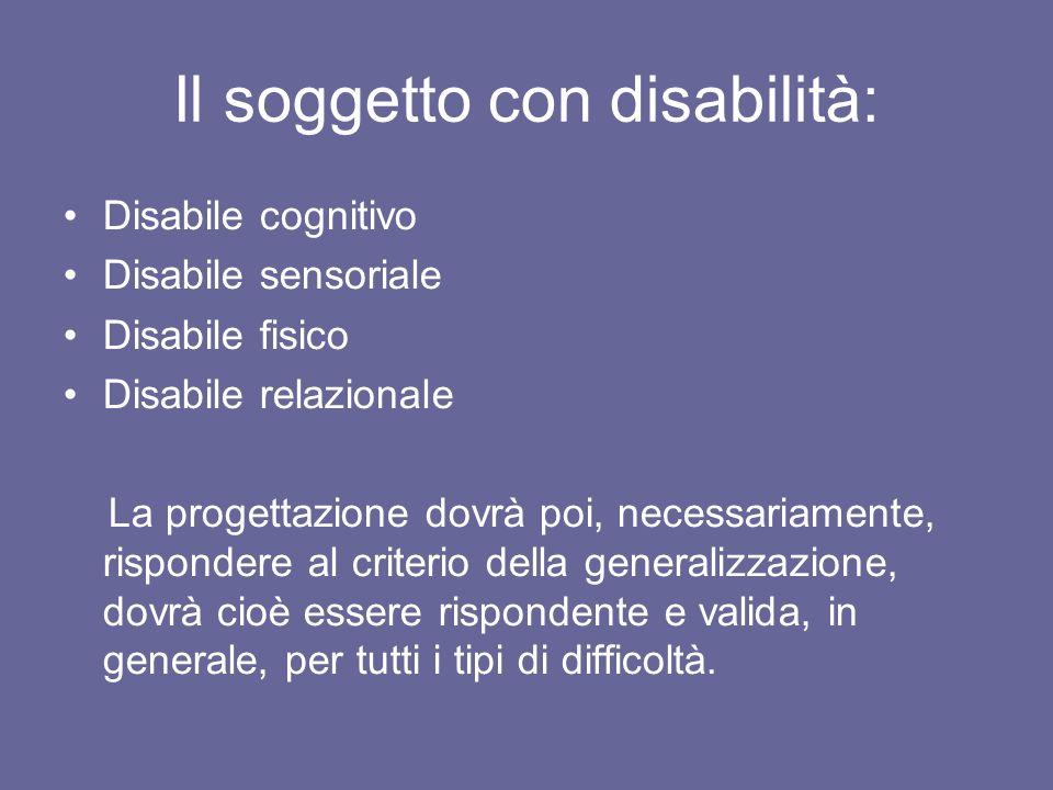 Il soggetto con disabilità: