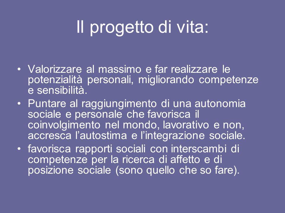 Il progetto di vita: Valorizzare al massimo e far realizzare le potenzialità personali, migliorando competenze e sensibilità.