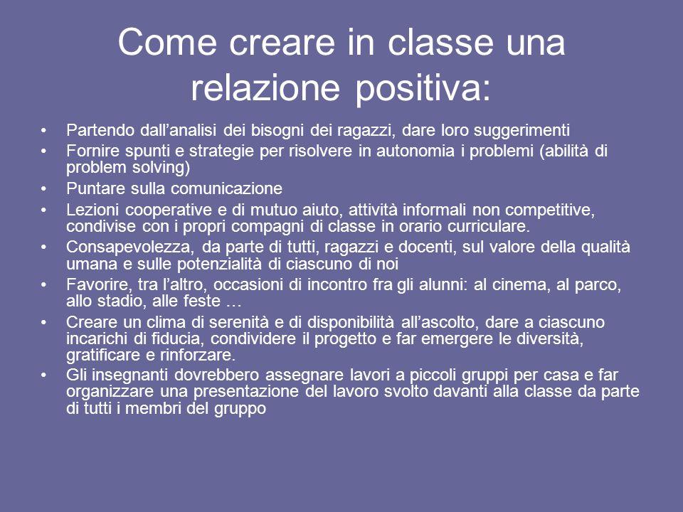 Come creare in classe una relazione positiva: