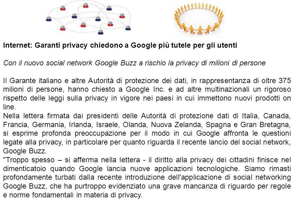 Internet: Garanti privacy chiedono a Google più tutele per gli utenti