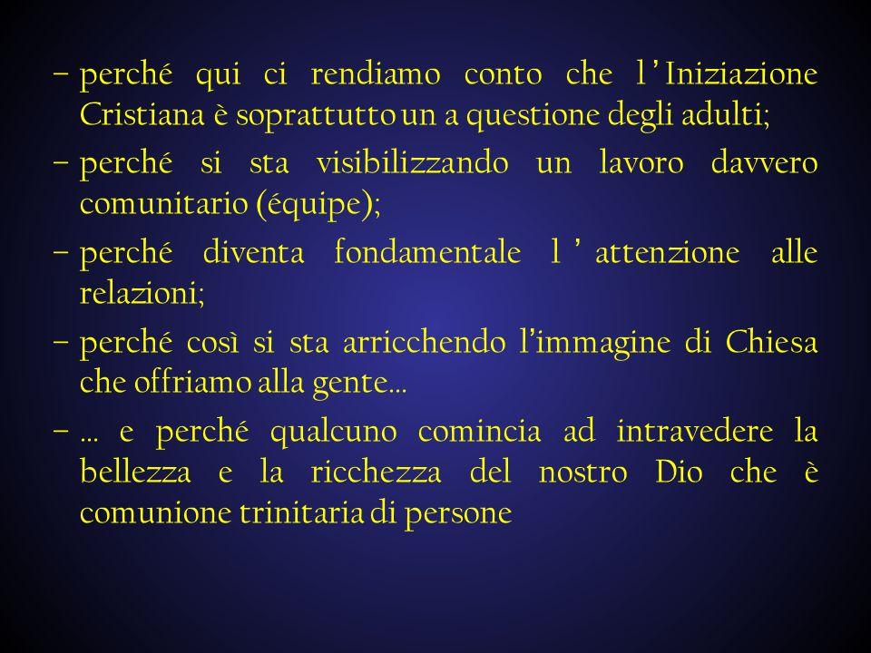 perché qui ci rendiamo conto che l'Iniziazione Cristiana è soprattutto un a questione degli adulti;