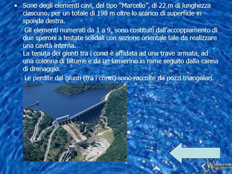 Sono degli elementi cavi, del tipo Marcello , di 22 m di lunghezza ciascuno, per un totale di 198 m oltre lo scarico di superficie in sponda destra.