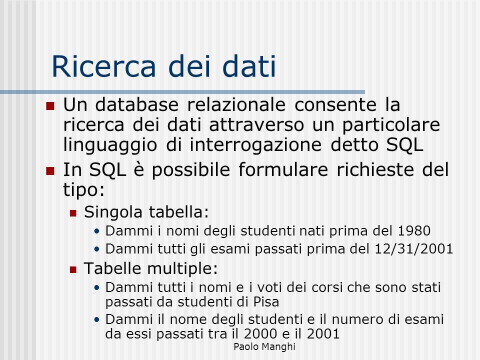 Ricerca dei dati Un database relazionale consente la ricerca dei dati attraverso un particolare linguaggio di interrogazione detto SQL.