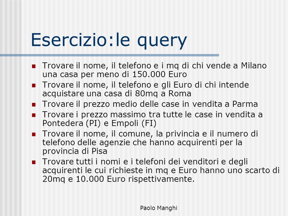 Esercizio:le query Trovare il nome, il telefono e i mq di chi vende a Milano una casa per meno di 150.000 Euro.