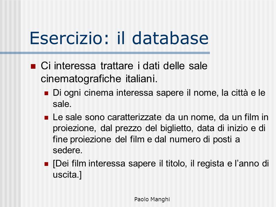 Esercizio: il database
