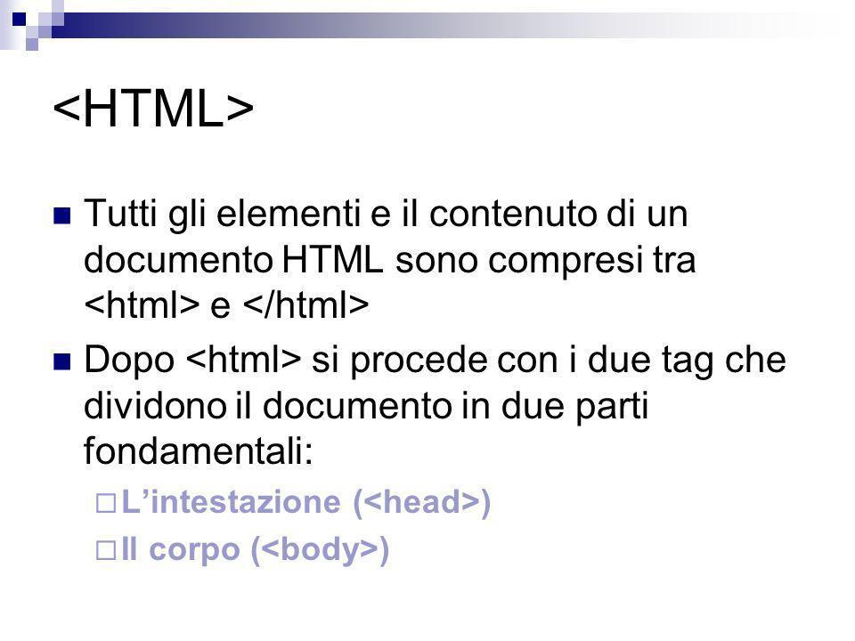<HTML> Tutti gli elementi e il contenuto di un documento HTML sono compresi tra <html> e </html>