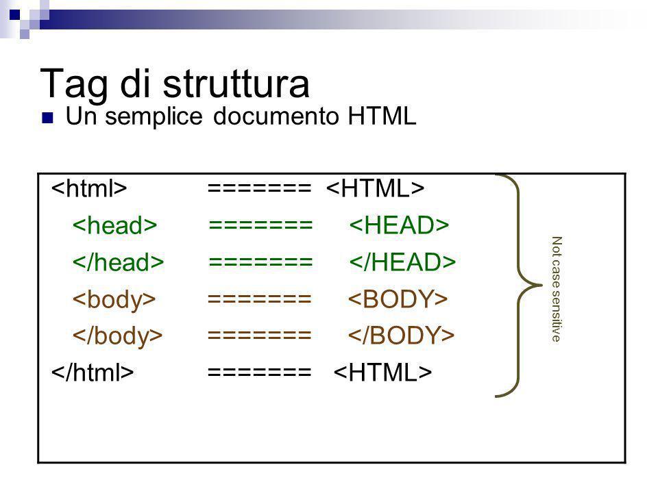 Tag di struttura Un semplice documento HTML