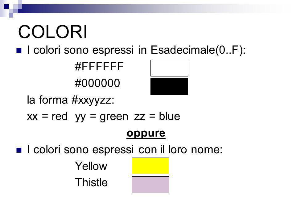 COLORI I colori sono espressi in Esadecimale(0..F): #FFFFFF #000000