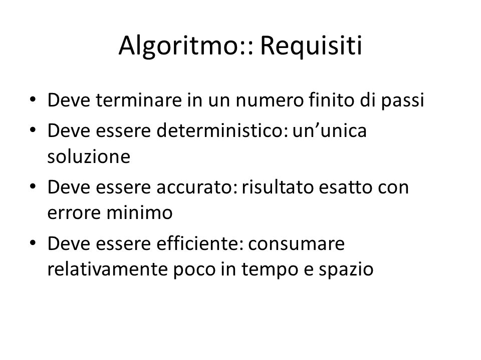 Algoritmo:: Requisiti