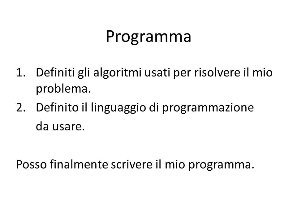 Programma Definiti gli algoritmi usati per risolvere il mio problema.