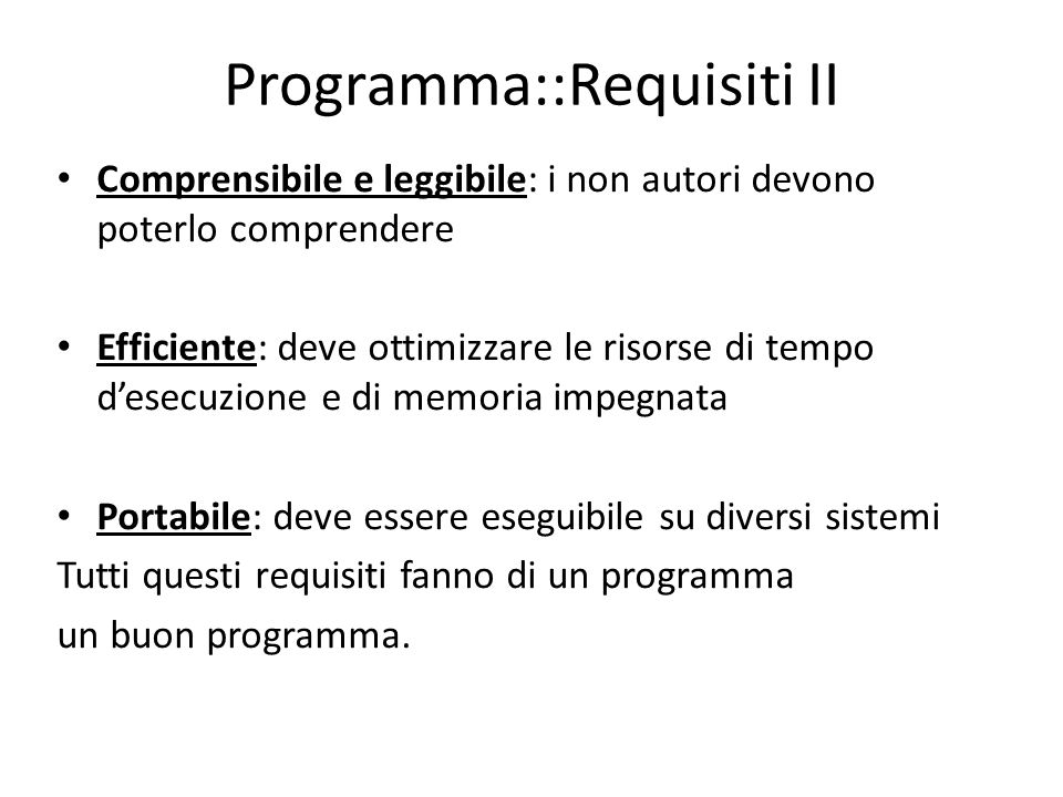 Programma::Requisiti II