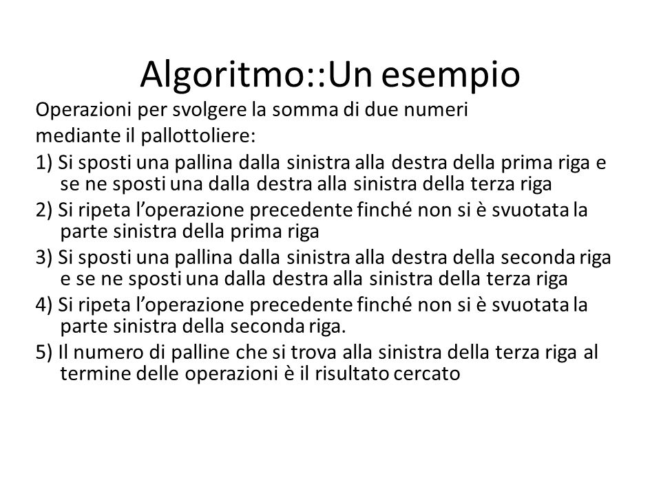 Algoritmo::Un esempio