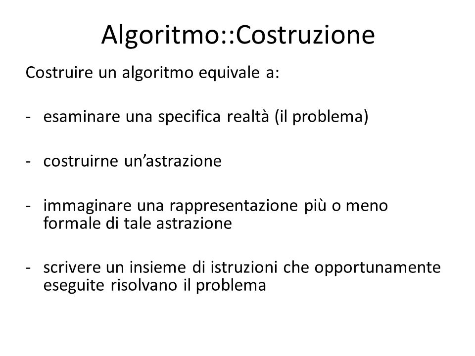Algoritmo::Costruzione