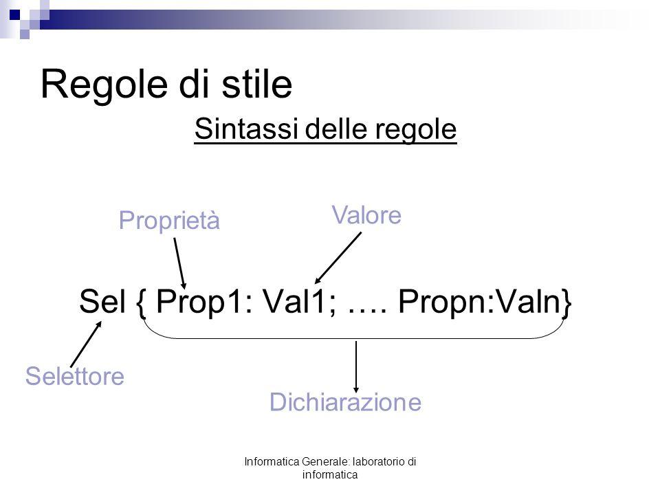 Regole di stile Sel { Prop1: Val1; …. Propn:Valn}